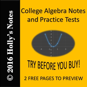 College Algebra Notes {Try Before You Buy}