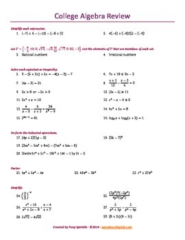 College Algebra Review