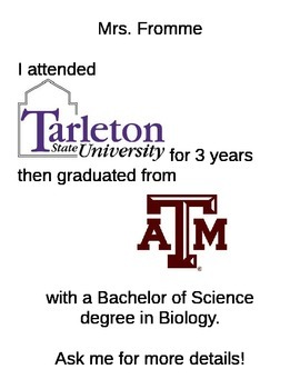 College Alumni Sign for Teacher Door or Entry: Getting to