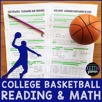 College Basketball Reading and Math Bundle