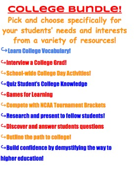 College Bundle with Vocabulary, Research, Activities and N