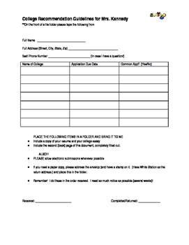 College Recommendation Form