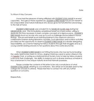 College Recommendation Letter Bundle - Science