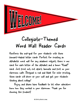 Collegiate-Themed Word Wall Header Cards: Red
