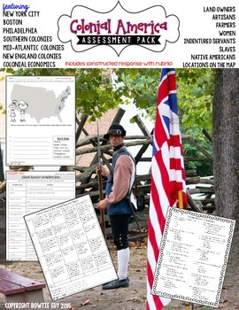 13 Colonies & Colonial America Test Pack {Constructed Resp