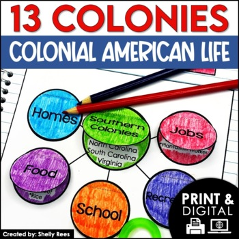 13 Colonies Daily Life Interactive Notebook and Mini Unit
