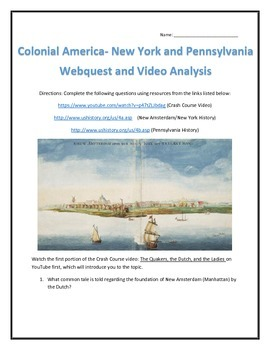 Colonial America- New York and Pennsylvania- Webquest and