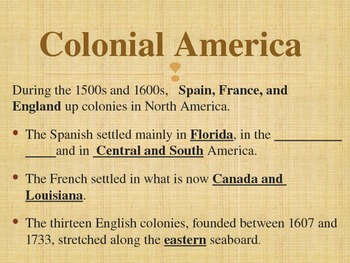 Colonial America Powerpoint - 13 Colonies 4th SS Common Core