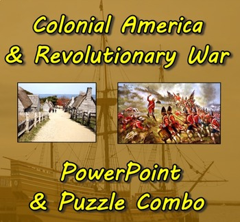 Colonial America & Revolutionary War PowerPoint (3) and Pu