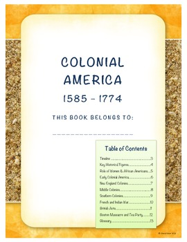 Colonial America Student Note Taking Booklet