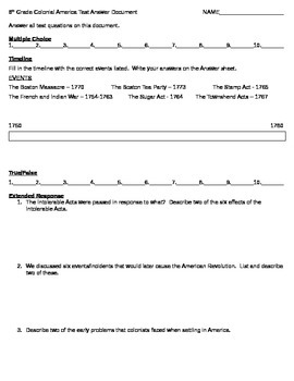 Colonial America Test Answer Document