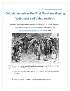 Colonial America- The First Great Awakening-Webquest and V