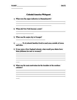 Colonial America - Webquest