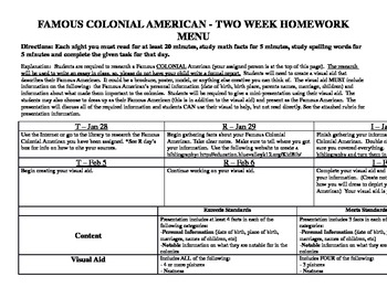 Colonial American Research Project w/ Rubric