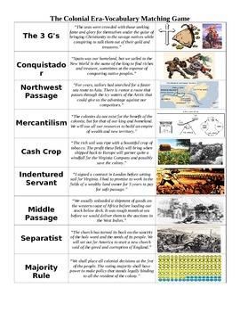 Colonial Era Vocabulary Game
