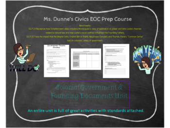 Colonial Government & Founding Documents Entire Unit- Inte