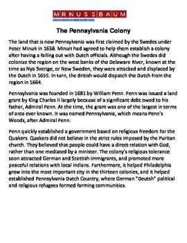 Colonial Pennsylvania Reading Comprehension Exercise