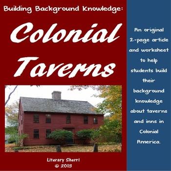 Colonial Taverns Mini-Lesson for Middle School (Grades 6, 7, 8)
