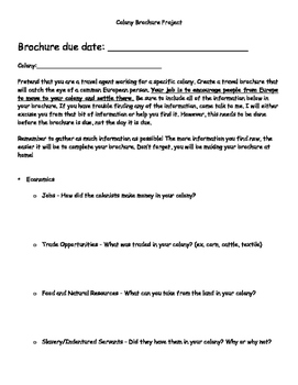 Colonies Brochure Project (Rubric Included!)