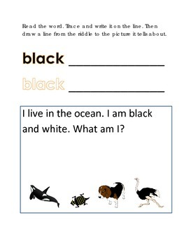 Color Black Reading Riddles Word Clues Emergent Reader Int