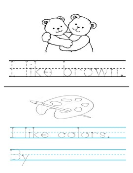 Color Book, tracing, emergent reader, sight words