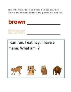 Color Brown Reading Riddles Word Clues Emergent Reader Int