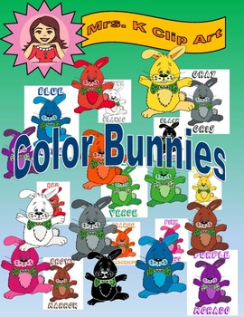 Color Bunnies in Spanish and English clip art