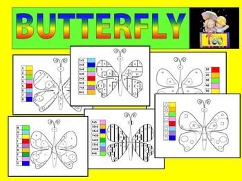 Color by Code - Butterfly - Math - Addition - Number - Alp