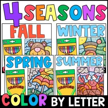 Color By Letter: The Four Seasons BUNDLE {PRINT & GO}