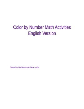Color By Number Math Activities English Version
