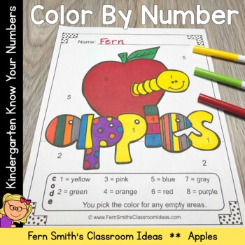 Color By Numbers Apples Numbers