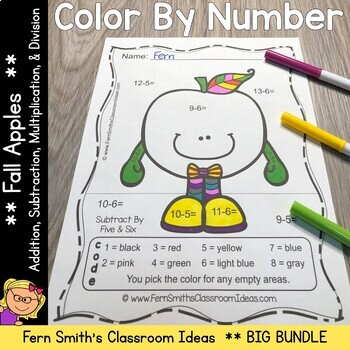 Color By Numbers Apples Addition Subtraction Multiplicatio