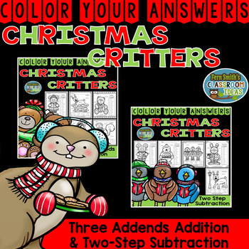Color By Numbers Christmas Three Addends Addition and Two-