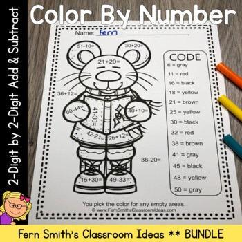 Color By Numbers Christmas Two Digit by Two Digit Addition