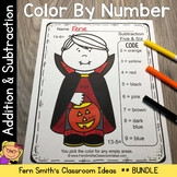 Color By Numbers Halloween Costumed Kids Addition and Subt
