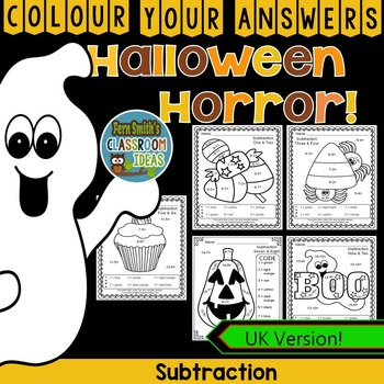 Colour By Numbers Halloween Fun Subtraction UK Version