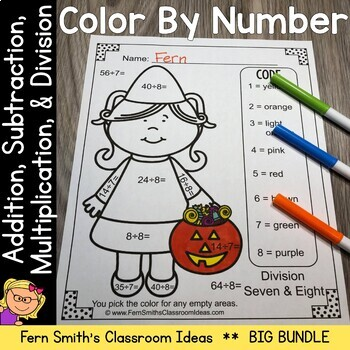 Color By Numbers Halloween Kids Addition Subtraction Multi