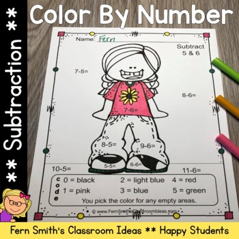 Color By Numbers Happy Students Subtraction