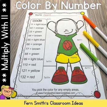 Color By Numbers Multiply By Eleven Color By Code