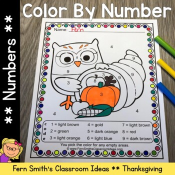 Color By Numbers Thanksgiving Fun Know Your Numbers