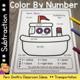 Color By Numbers Transportation Subtraction With Bonus Col