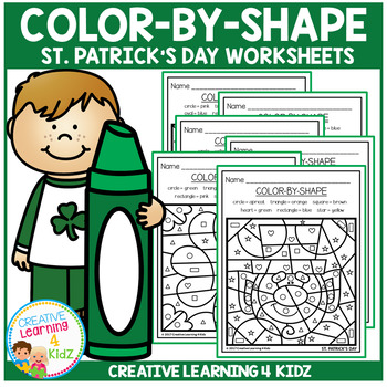Color By Shapes Worksheets: St. Patrick's Day
