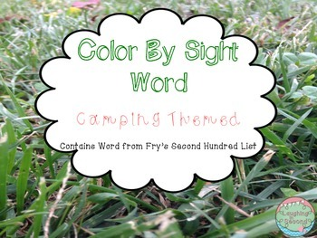 Color By Sight Word - Camp Themed