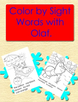 Frozen Themed: Color By Sight Word Olaf Pages