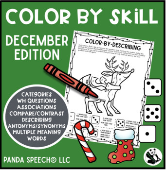 Color-By-Skill NO-Prep Language Pack! December Edition