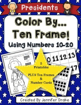 Color By Ten Frame #s10-20! Presidents Day Version! Printa