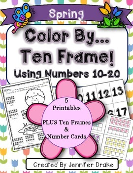 Color By Ten Frame #s10-20!  Spring Version! Printables, 1