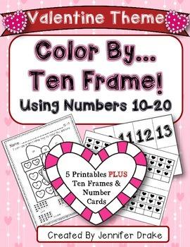 Color By Ten Frame #s10-20!  Valentine Version! Printables
