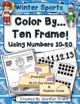 Color By Ten Frame #s10-20! Winter Sports! Printables, 10
