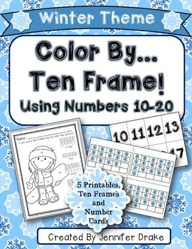 Color By Ten Frame #s10-20! Winter Version! Printables, 10